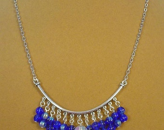 "Beautiful Cobalt Blue Iridescent 18"" neclace - N275"