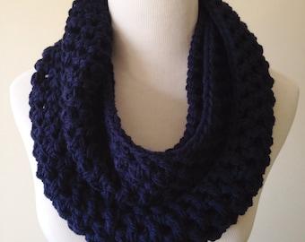 Navy Scarf - Navy Infinity Scarf - Navy Knit Scarf - Navy Crochet Scarf - Navy Chunky Scarf - Navy Blue Knitted Scarf - Navy Cowl Scarf