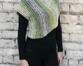 Crop Sweater, Asymmetrical Knit Sweater, Sweater Shrug, Crochet Sweater, Green Sweater
