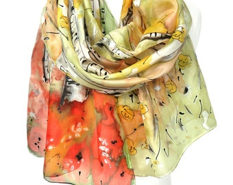 Yellow Trees Scarf. Poppy Silk Scarf. Hand Painted Shawl. Genuine Art. Anniversary Gift. Woman Birthday. Silk Painting 18x71in MADE to ORDER