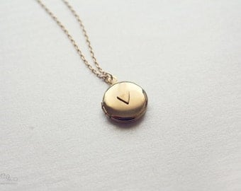 tiny triangle locket - minimalist, modern, dainty jewelry / gift for her