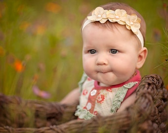 Baby Headband, Yellow Hydrengea flower headband ,Newborn Headbands, Baby Headbands Toddler Headbands. Flower Headbands, Newborn Photo