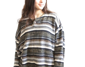 90s GRUNGE striped HUGE slouchy boyfriend HEATHERED sweater