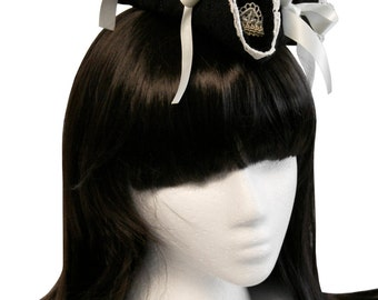 Black and Ivory Mini Ruffled Tricorn Pirate Hat - Made to Order