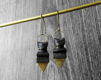 Geometric Leather Earrings. Long Earrings. Gold Brass Triangle Earrings. Minimalist Jewelry.