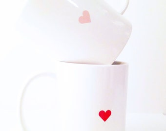Tiny Heart Ceramic Mug - 11 oz. Grapefruit Pink & White -  Bold, Modern, For the Home, Apartment, Kitchen, Gift, Housewarming, Love, Holiday