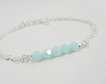 Mint Green - Sterling Silver Delicate Bracelet - Simple Everyday Jewelry - Dainty Bracelet