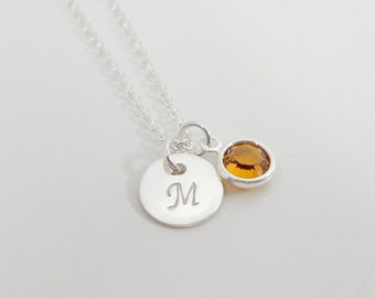 Sterling Silver Initial Necklace - Birthstone Jewelry - Hand Stamped Personalized Jewelry