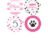 Puppy Birthday Party Cupcake Toppers - Pink Puppy Party Package - Girls Dog Birthday Party kit - Puppy Party Favors - Puppy Adoption