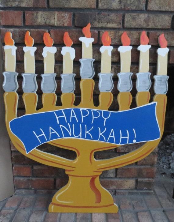 Menorah For Hanukkah Wood Outdoor Yard Art By Chartinisyardart