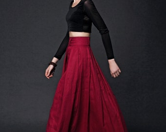 Red Linen Long Skirt - Maxi Womens Skirt All-Season Fashion Handmade Exclusive Design C493