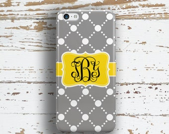 Womens Iphone 6 Plus case, Pattern Iphone 6s plus case, Preppy iPhone SE case, Fashion iPhone 5s case, Gift for BFF, Gray and yellow (1024)