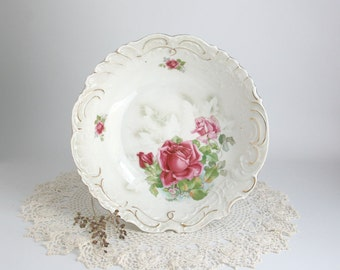 Vintage White with Pink Roses Serving Dish from Germany  cottage shabby chic feminine dainty