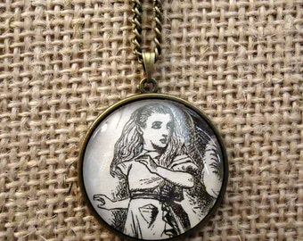 SALE Alice in Wonderland Book Page Necklace