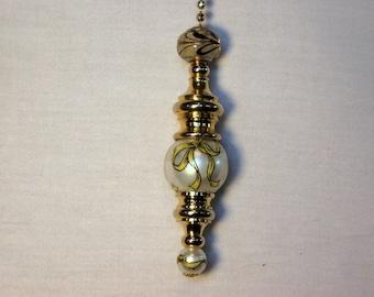21mm Faux Pearl fan pull w/ 10mm Bottom Bead to Match