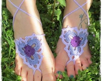 Barefoot Sandals-Crochet-Hippy-Boho-Festival Wear-Yoga-Beach-Foot Jewelry