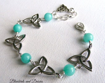 Triquetra and Amazonite Bracelet, Trinity Knot, Celtic Knot, Wiccan, Pagan, Crystal