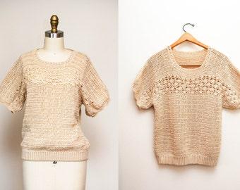 Vintage Tan Knitted Folk Sweater / Short Kimono Sleeves / Medium