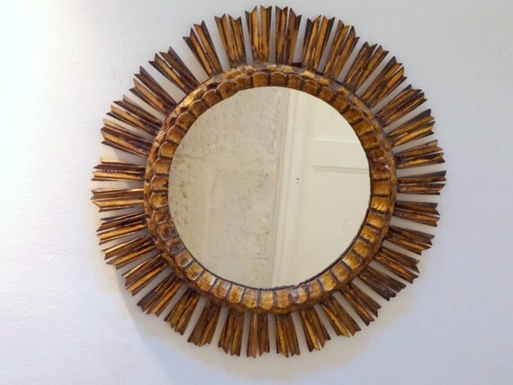 Large Round Gold Mirror: Large Antique Round Spanish Gold Gilt Wooden Spiky Wall Mirror