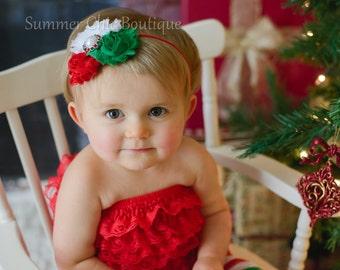 Christmas Headband, Baby /Headband, Infant headband, Newborn Headband,  Triple Rosettes with Pearl Center on skinny elastic