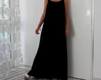 Black Maxi dress/ sleeveless dress/ Long maxi dress / Summer dress / Plus size dress /Party dress/ Summer dress/ Sundress/ Casual dress