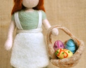Easter Decoration Waldorf inspired needle felted doll : Girl with easter eggs