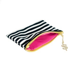 Zipper Pouch Black and White Striped Canvas Gold Accent