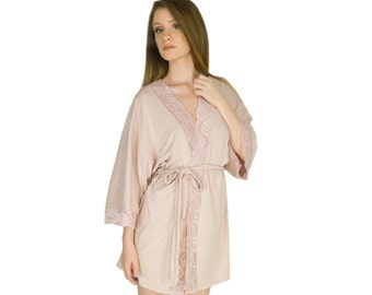 Lace Robe Soft Nightgown Bamboo Jersey Pink Bridesmaids Robes