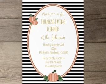 Thanksgiving Invitation • Black White Gold Orange • Invitations  • Stripes and polka dots and pumpkins • printable