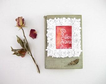 Framed Word Art - Love Artwork - Original ACEO Watercolor - Pink Desk Accessory - Valentine Gift