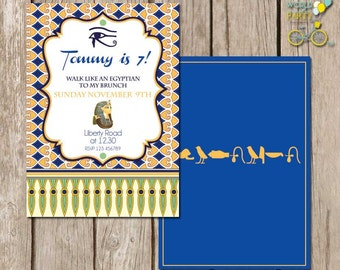 Egypt Party Invitation - hiero glyphs invitation - walk like an egyptian - tut cleopatra - Printable File - PDF