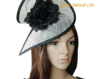 Black/white special shape sinamay fascinator formal hat with silk flower,party/wedding/races