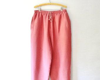 pink salmon colored drawstring 80's vintage silk straight - wide leg boho pants - medium - large