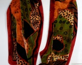 """15"""" x 72"""" oblong silk/rayon velvet scarf abstract animal skin in camel, olive,brown, russet, golden yellow and rust red"""