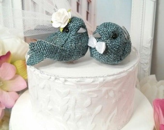 SALE CHOOSE your head flower  wedding 2017   small   wonderful rustic burlap teal  bird wedding cake topper or wedding anniversary