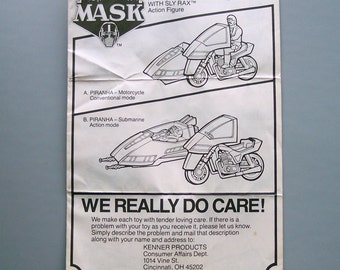 Vintage 1986 M.A.S.K. Piranha Instructions C8 or Better