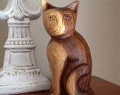 Wooden Cat Statue - Wood carving [E]