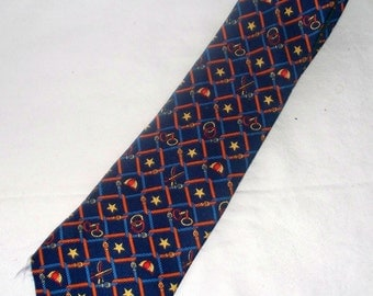 Vintage Tommy Hilfiger Equine Men's Tie  - Riding Crop Helmut Stirrups Bits - Stas and Buckle on Thin Tail
