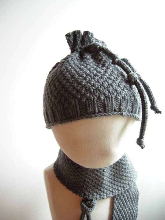 NIGEL - Newborn Irish / Aran Set (scarf, miitens and hat) - Pure merino - Dark grey - other colors made to order