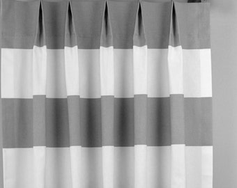 Storm Gray White Contemporary Cabana Wide Horizontal Stripe Curtains - Pinch Pleat - 84 96 108 120 Long - Optional Blackout Cotton Lining