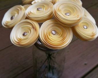 Paper Flower Bouquet - Ivory Paper Flowers with Hammered Silver Disc Embellisments - Handmade Paper Flowers for Brides, Weddings, Showers