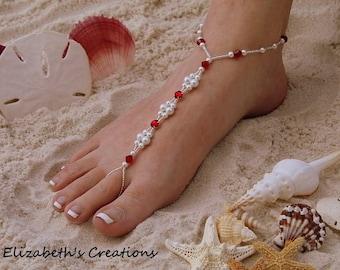 Barefoot Sandal - Simply Elegant White Pearls Swarvoski Red Rinestones and Montees and Silver Beads