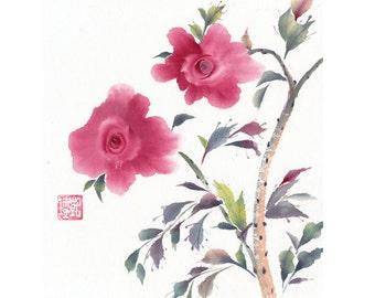 Early Pink Roses Original Watercolor Painting Chinese Brush Artwork