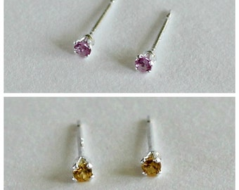 2mm Gemstone Studs Set-Tiny Stud Earrings-Birthstone Studs-Gemstone Studs-Small Studs-Create Your Own Set-Gifts Under 30-Gifts for Her