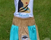 Pocahontas and Friends, Girls Embroidered Skirt and Shirt, Free Personalization