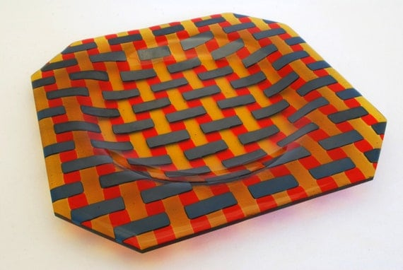 Large Octagonal Plate in Steel Blue, Amber and Tangerine, 280mm x 280mm