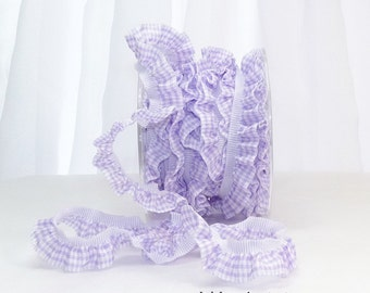"LAVENDER Purple CHECK Plaid Elastic Ruffle  3 Yards by 3/4"" wide Trim - DIY  Showers Birthday Packages, Homemade Gifts, Cards, Crafts, Party"