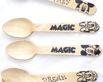 DISNEY CRUISE Wooden Ice Cream Spoons 18 disney Inspired Hand Stamped Fe Cruise Gift Party Favors , Ice Cream Spoons, Eco Friendly