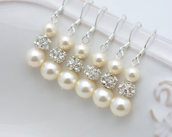 6 Pairs Ivory Pearl and Rhinestone Earrings, 6 Pairs Bridesmaid Earrings, Ivory Pearl Earrings, Long Earring, Bridesmaid Gift 0150