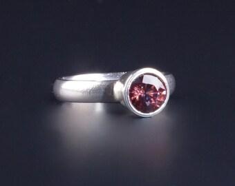 Orange Red Zircon 7mm Round Bezel Sterling Silver Ring